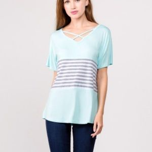 Mint/grey striped tee
